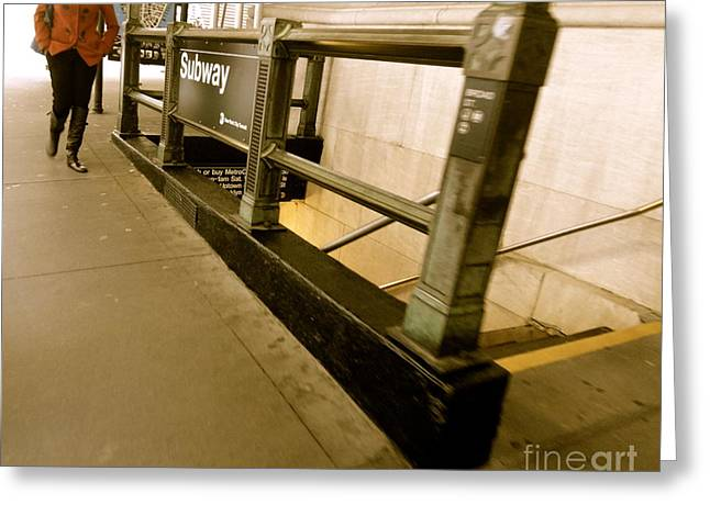 New York Subway Greeting Card by Jacqueline Athmann