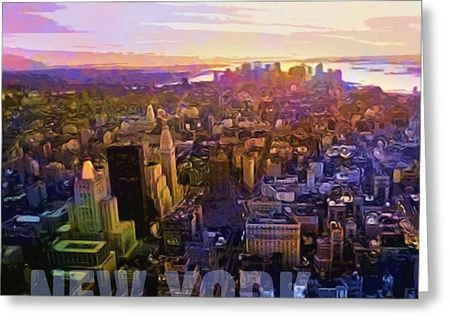 New York Sunset Greeting Card by Lutz Baar