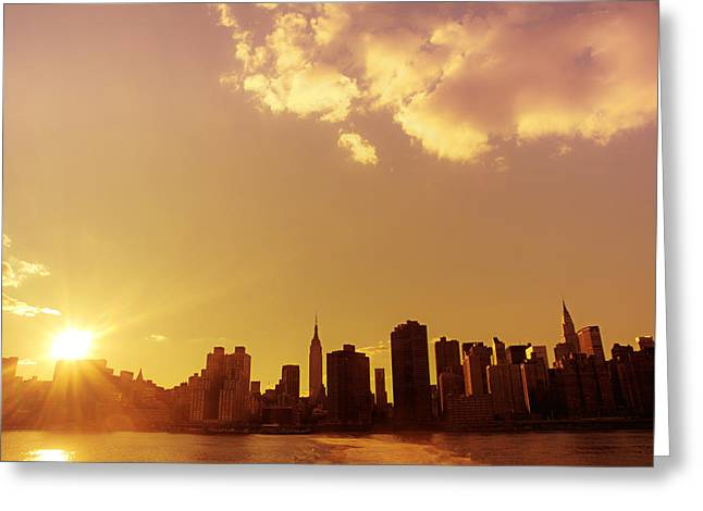 New York Sunset Skyline Greeting Card by Vivienne Gucwa