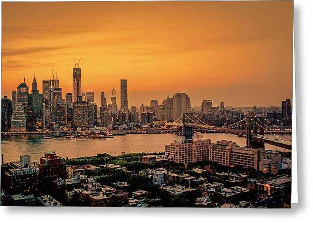 New York Sunset - Skylines Of Manhattan And Brooklyn Greeting Card