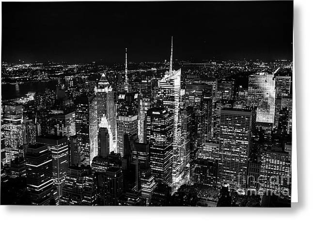 New York Times Square Bw Greeting Card