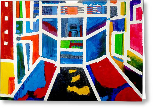 Greeting Card featuring the painting New York Times Square  By Janelle Dey by Janelle Dey