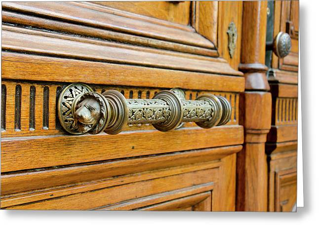 New York, Troy Historic Wooden Doors Greeting Card
