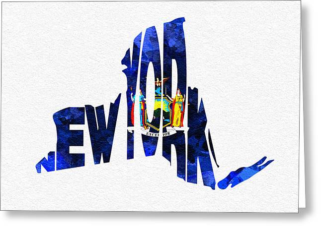 New York Typographic Map Flag Greeting Card