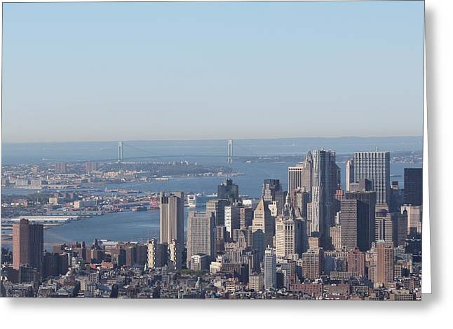 Greeting Card featuring the photograph New York View And Verrazano-narrows Bridge by David Grant