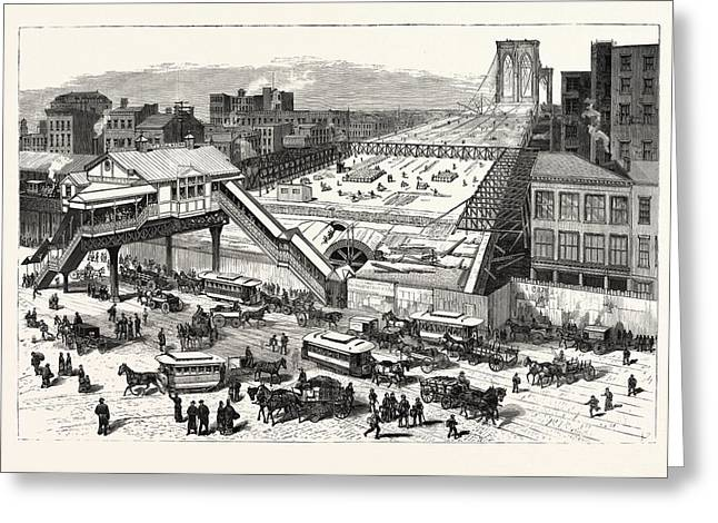 New York View Of The East River Bridge And The Approaches Greeting Card by American School