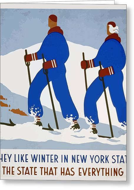 New York Vintage Skiing Greeting Card by American Classic Art