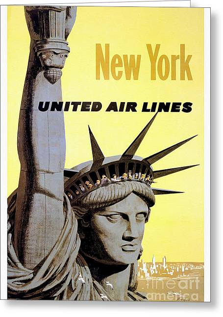 New York Vintage  Travel Poster Greeting Card by Jon Neidert