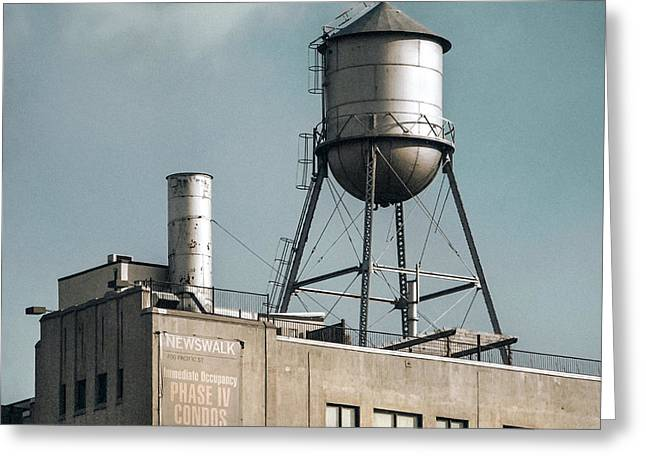 Greeting Card featuring the photograph New York Water Towers 10 by Gary Heller