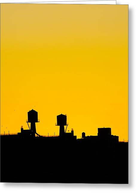 New York Water Towers Greeting Card by Simon Laroche