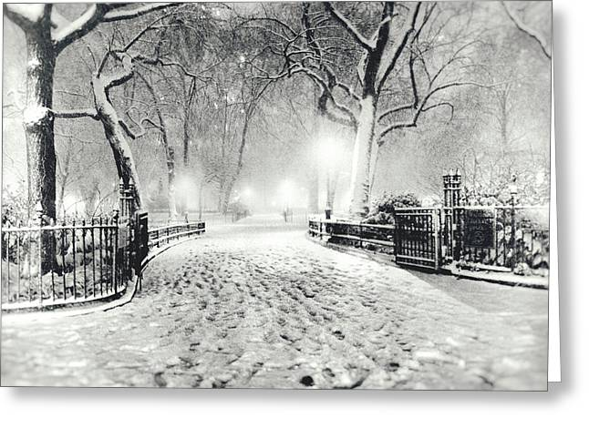 New York Winter Landscape - Madison Square Park Snow Greeting Card by Vivienne Gucwa