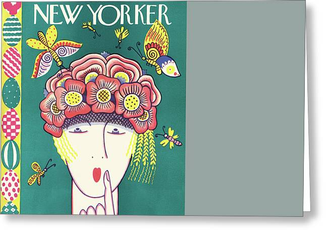 New Yorker April 16th, 1927 Greeting Card by Ilonka Karasz