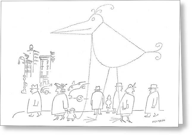 New Yorker April 16th, 1955 Greeting Card by Saul Steinberg