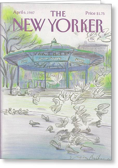 New Yorker April 6th, 1987 Greeting Card by Eugene Mihaesco