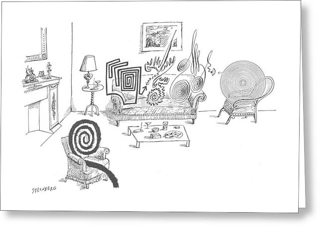 New Yorker August 11th, 1962 Greeting Card by Saul Steinberg