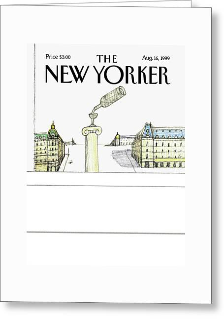 New Yorker August 16th, 1999 Greeting Card by Saul Steinberg
