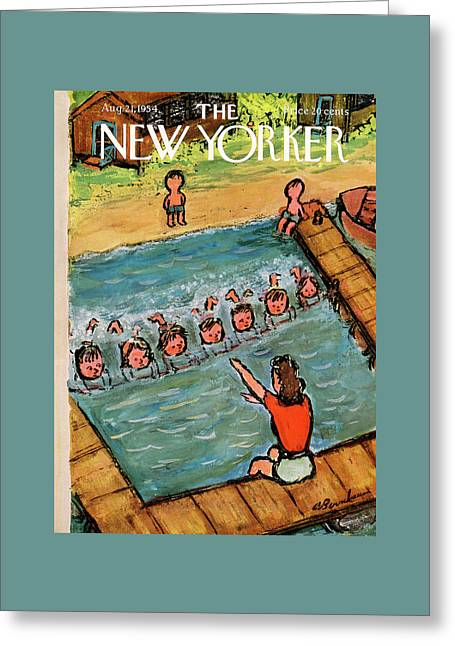 New Yorker August 21st, 1954 Greeting Card by Abe Birnbaum
