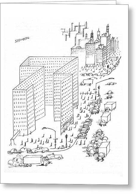 New Yorker August 21st, 1965 Greeting Card by Saul Steinberg