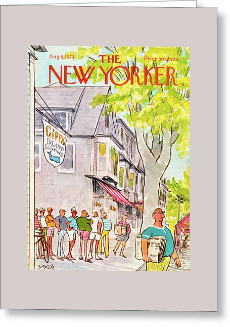 New Yorker August 6th, 1973 Greeting Card by Charles Saxon