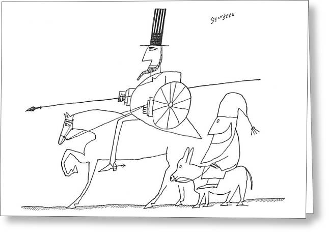 New Yorker December 12th, 1959 Greeting Card by Saul Steinberg