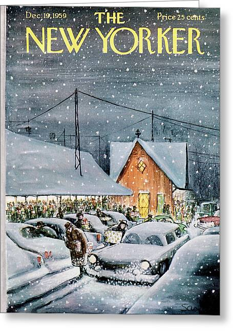 New Yorker December 19th, 1959 Greeting Card by Charles Saxon