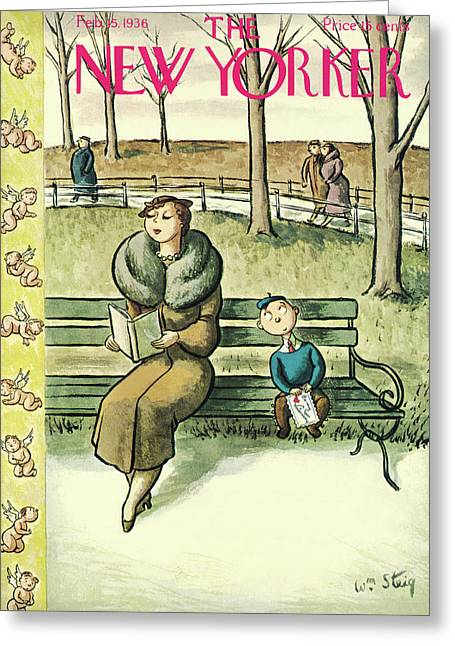 New Yorker February 15th, 1936 Greeting Card by William Steig