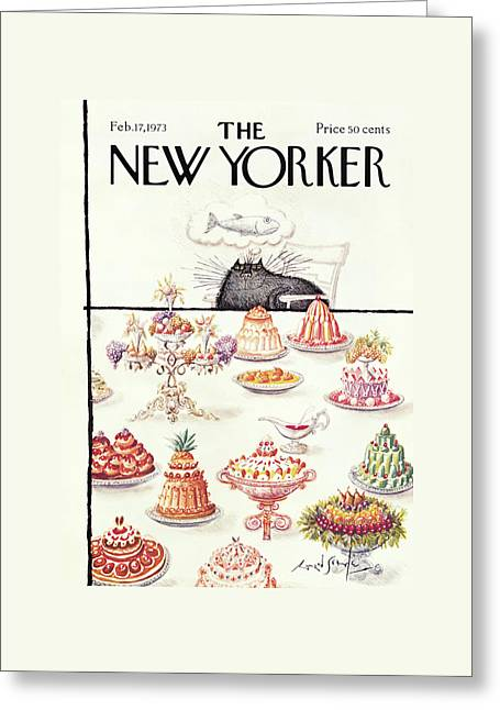 New Yorker February 17th, 1973 Greeting Card by Ronald Searle