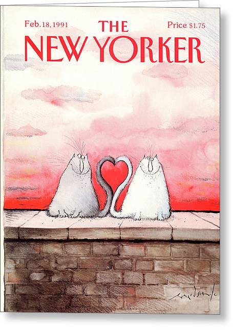 New Yorker February 18th, 1991 Greeting Card by Ronald Searle