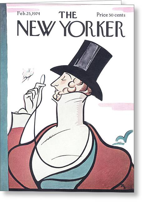 New Yorker February 25th, 1974 Greeting Card by Rea Irvin