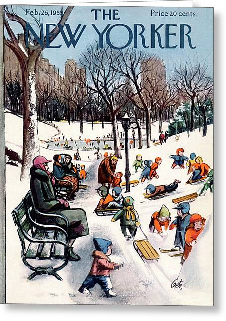 New Yorker February 26th, 1955 Greeting Card by Arthur Getz