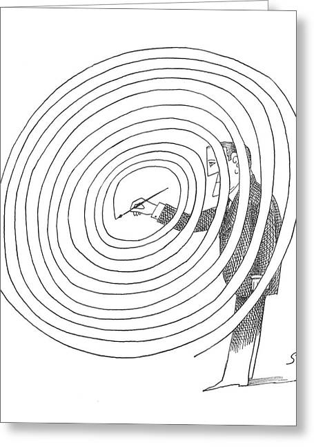 New Yorker February 2nd, 1963 Greeting Card by Saul Steinberg