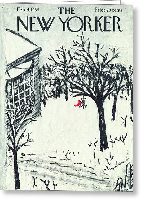 New Yorker February 4th, 1956 Greeting Card by Abe Birnbaum
