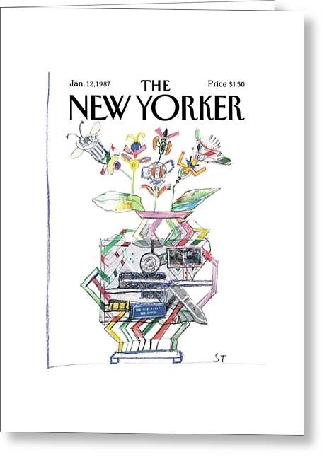 New Yorker January 12th, 1987 Greeting Card by Saul Steinberg