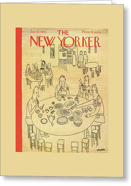 New Yorker January 13th, 1945 Greeting Card by Saul Steinberg