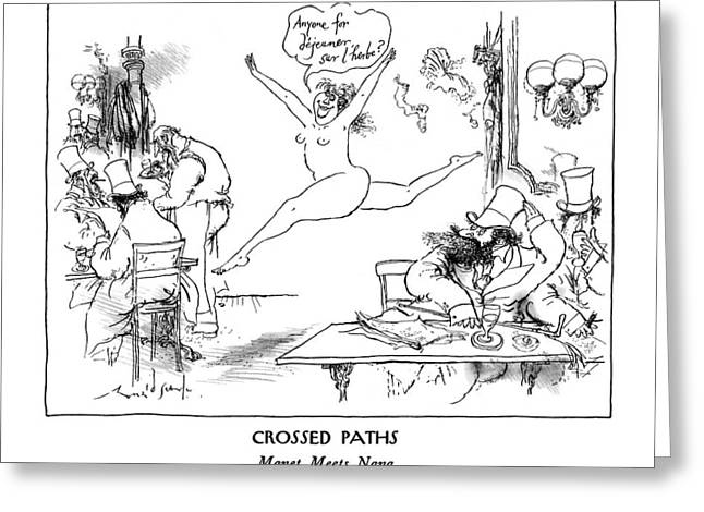 New Yorker January 13th, 1992 Greeting Card by Ronald Searle