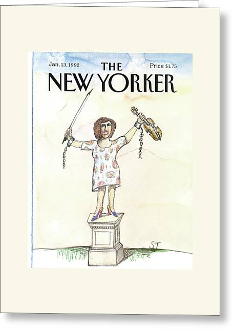 New Yorker January 13th, 1992 Greeting Card by Saul Steinberg