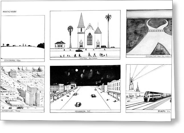 New Yorker January 16th, 1978 Greeting Card by Saul Steinberg