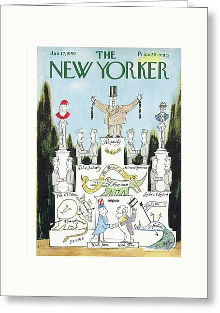 New Yorker January 17th, 1959 Greeting Card by Saul Steinberg