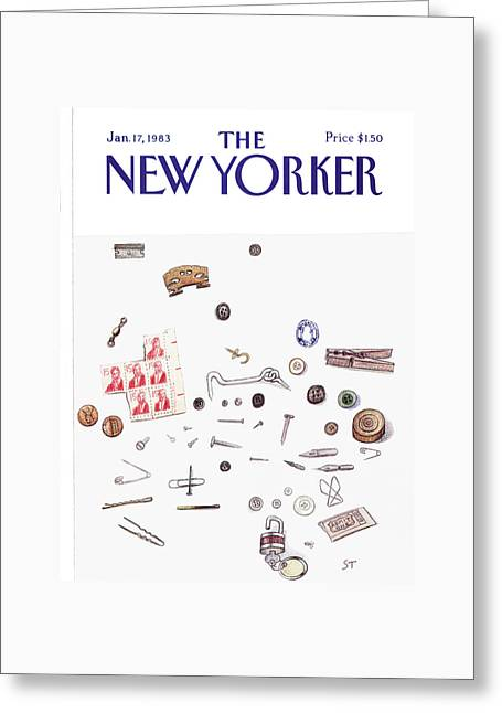 New Yorker January 17th, 1983 Greeting Card by Saul Steinberg