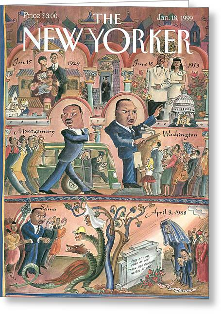 New Yorker January 18th, 1999 Greeting Card by Edward Sorel