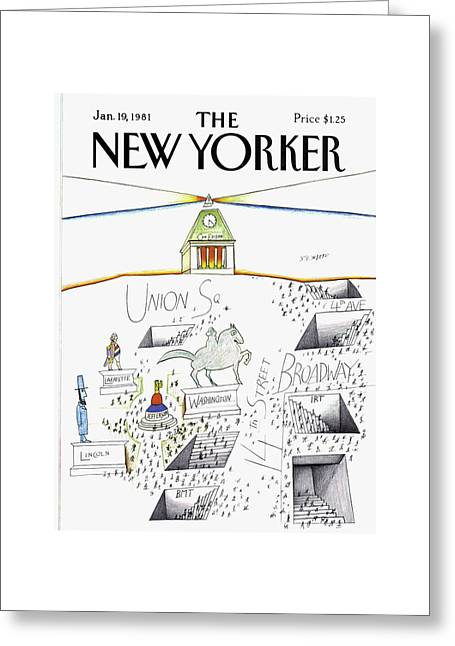 New Yorker January 19th, 1981 Greeting Card by Saul Steinberg