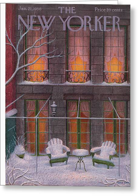 New Yorker January 21st, 1956 Greeting Card by Edna Eicke