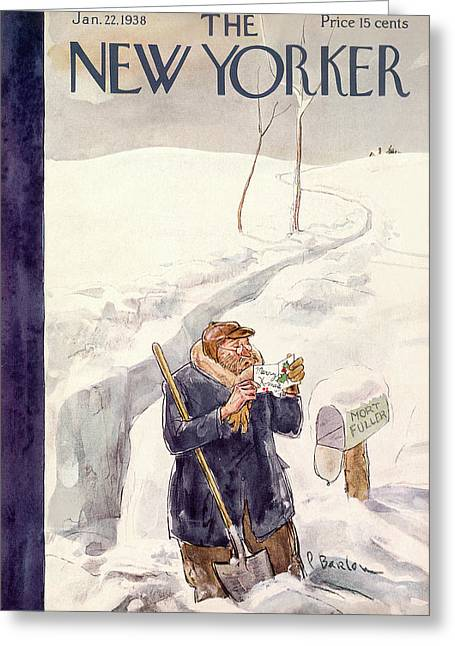 New Yorker January 22nd, 1938 Greeting Card by Perry Barlow