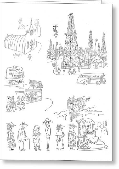 New Yorker January 27th, 1951 Greeting Card by Saul Steinberg