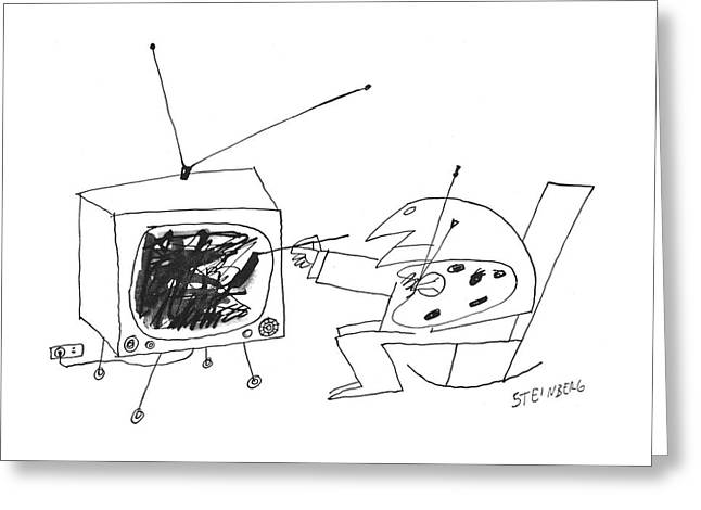 New Yorker January 30th, 1960 Greeting Card by Saul Steinberg