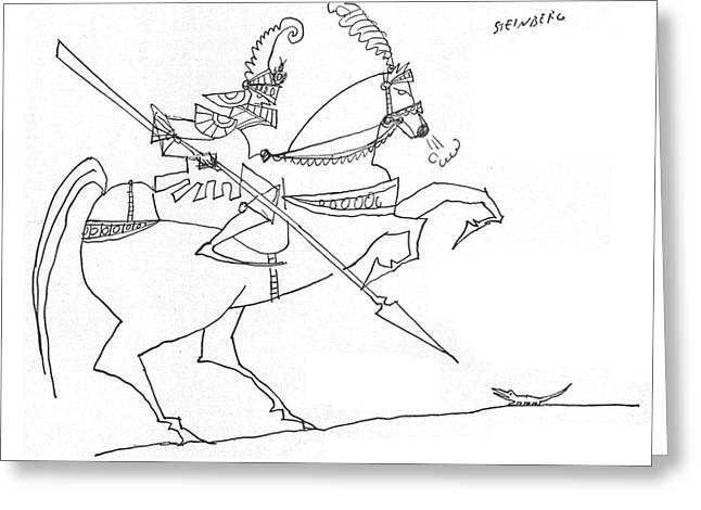 New Yorker January 3rd, 1959 Greeting Card by Saul Steinberg