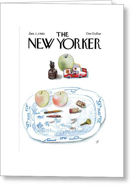New Yorker January 7th, 1980 Greeting Card by Saul Steinberg