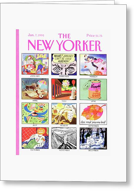 New Yorker January 7th, 1991 Greeting Card by Kenneth Mahood