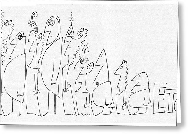New Yorker July 1st, 1961 Greeting Card by Saul Steinberg
