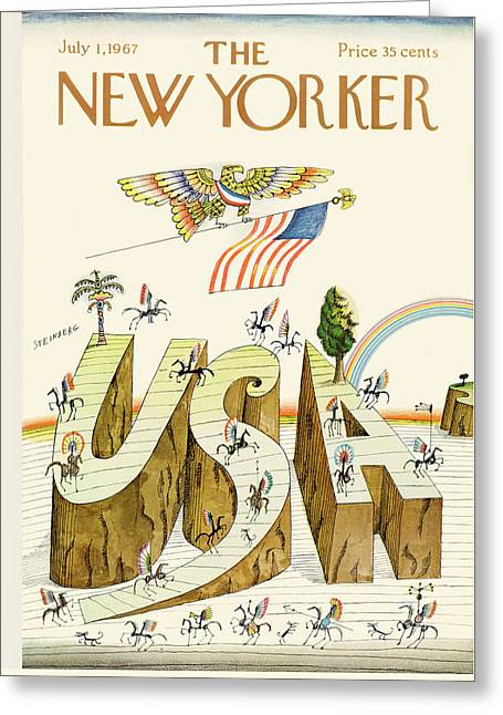 New Yorker July 1st, 1967 Greeting Card by Saul Steinberg